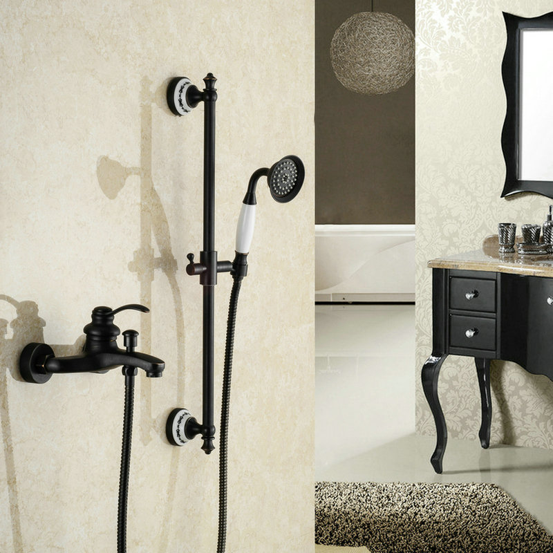 Oil Rubbed Bathroom Black Bronze Finished Shower Set Mixer Tap Wall Mounted Dual Handle Antique Solid Brass Bathtub Shower KitOil Rubbed Bathroom Black Bronze Finished Shower Set Mixer Tap Wall Mounted Dual Handle Antique Solid Brass Bathtub Shower Kit