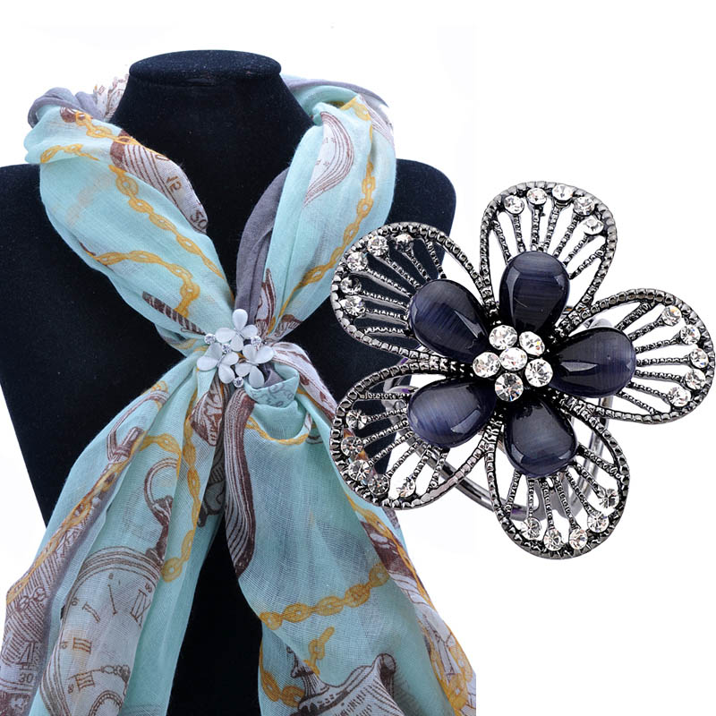 Brooch Black Plating Semi Precious Stones Brooches Retro