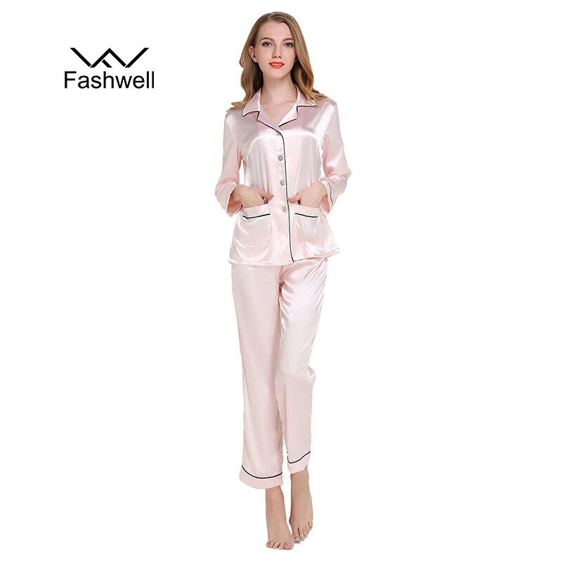 New Womens Satin Pajamas Sets casual sleepwear long sleeve ...