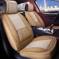 Car Styling Car Seat Covers With Fixed Lumbar Support Ice Silk Automobiles Seat Cover Universal 9PCS