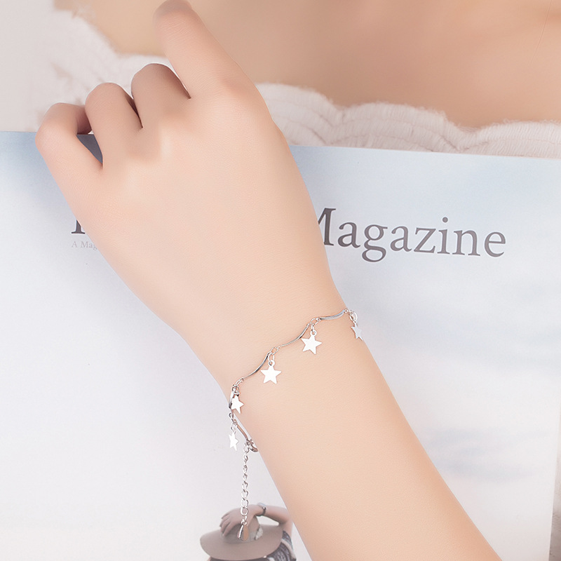 925 Sterling Silver Fashion Little Star Design Bracelets for Women Jewelry Christmas Gift Hot Sale Wholeslae Drop Shipping in Charm Bracelets from Jewelry Accessories