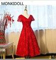 Robe De Soiree red lace short tee länge eine linie abendkleid v ausschnitt flügelärmeln modest mit schärpen mode prom kleider billig verkauf|a line prom dress|prom dressesprom dress fashion -