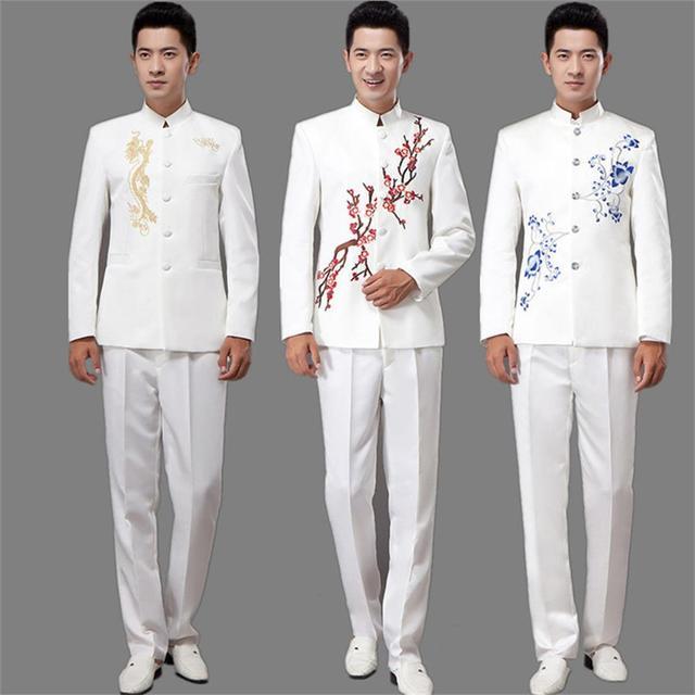 El nuevo azul y blanco porcelana bordado ropa traje túnica de los hombres jóvenes instalados 's coro actuaciones anfitrión traje