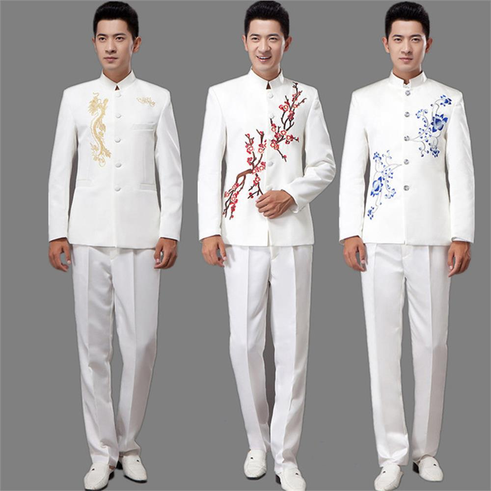 The new blue and white porcelain embroidery tunic suit young men 's clothing installed men' s choral performances host suit