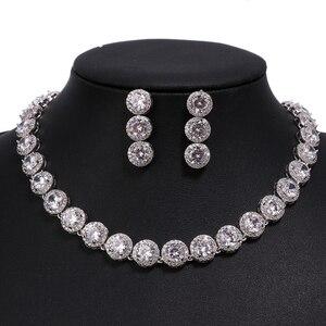 Image 5 - Emmaya marka wspaniała okrągła biżuteria z białego złota kolor AAA sześcienne zestawy biżuterii ślubnej z cyrkonią dla miłośników narzeczonych popularna biżuteria prezent