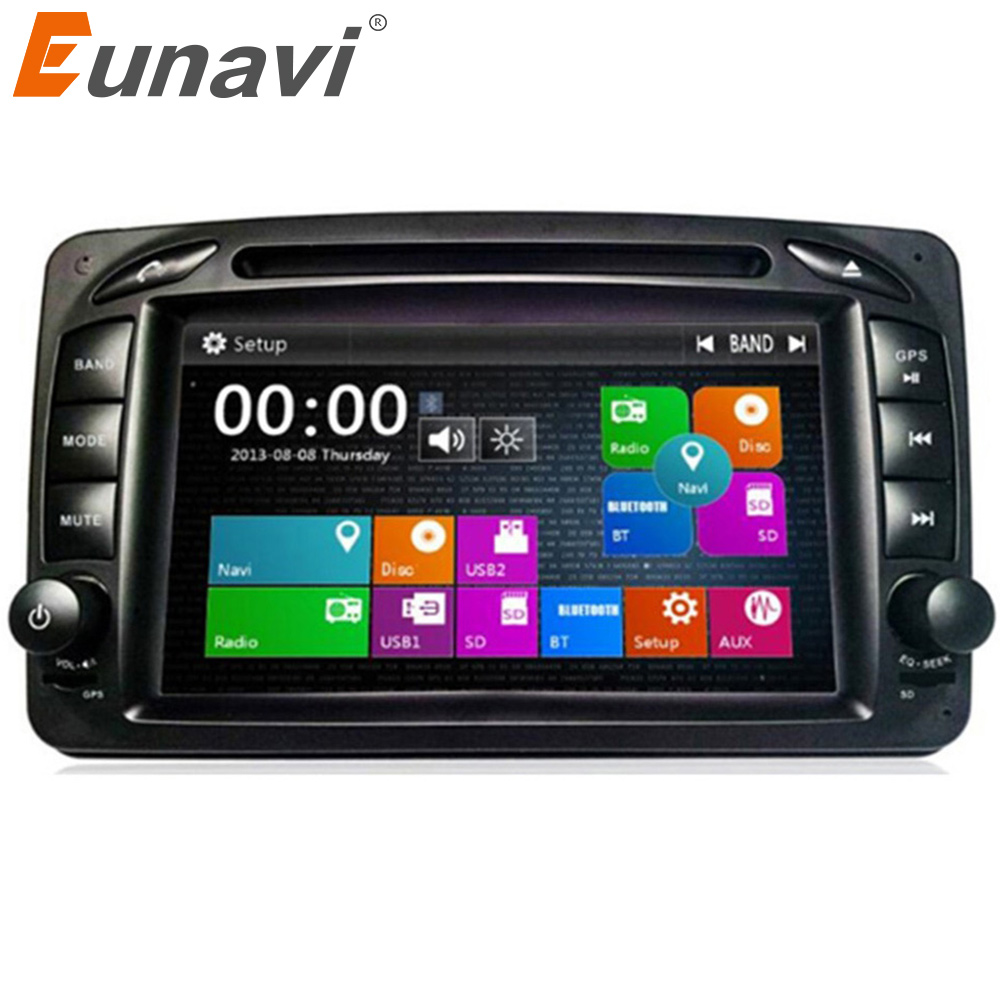 Eunavi 2 Din samochodowy odtwarzacz dvd odtwarzacz dla Mercedes/Benz/CLK/W209/W203/W168/W208/W463/W170/Vaneo/Viano/Vito/E210/C208 Canbus FM radio gps