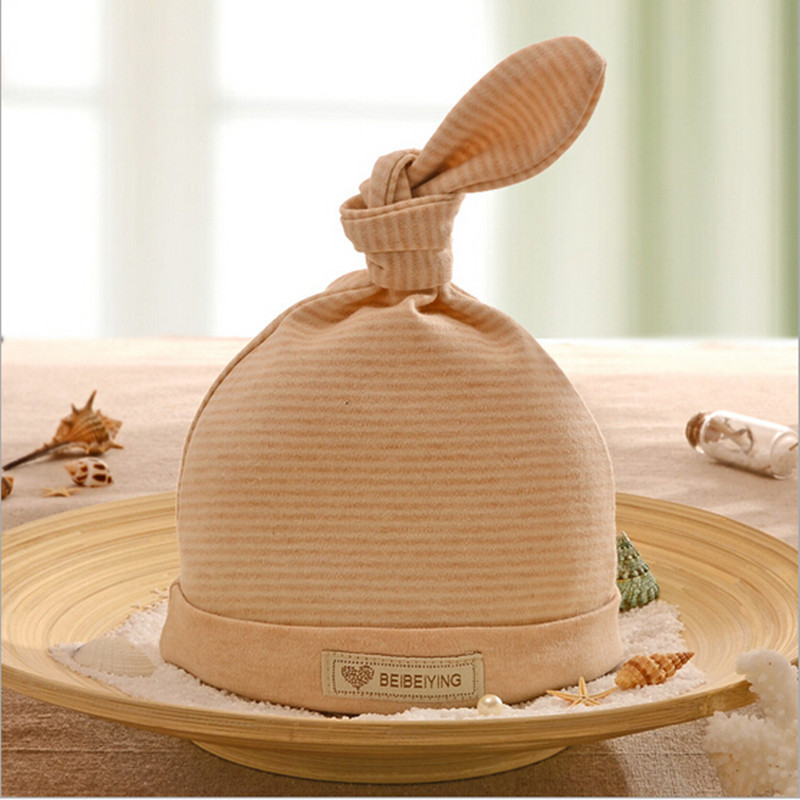 Baby Care New Arrival baby hat Cotton Unisex newborn fotografia 0-3 months baby boy hat Striped Beige Fitted