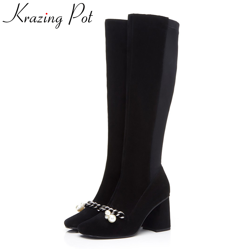 Krazing pot cow suede square toe high heels metal chains pearl decoration winter boots fashion superstar over-the-knee boots L22 krazing pot genuine leather sheep skin thick high heels square toe zipper boots women superstar party western mid calf boots l17