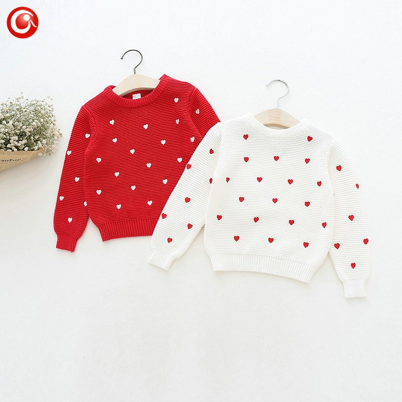Children Girls Cardigan Heart Design Sweater Kids Long Sleeve O Neck Warm Pullover Knitted Clothes New Year Baby Clothing 2-6Y (4)