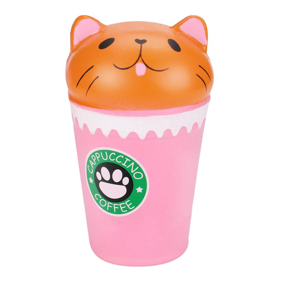 Cartoon Pink Coffee cup cat Scented Squishy Toy Slow Rising Squeeze Strap stress reliever Toys Nice Gift Stress Reliver