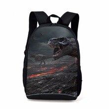 Купить с кэшбэком Teenagers Children School Bags 16 Inch Cool Dinosaur Backpacks 8~12 Years Kids Schoolbag Printing Zoo High-capacity Travel bag