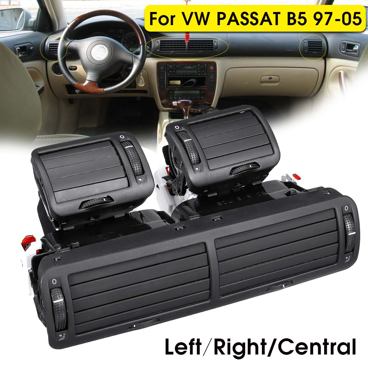 Front Dashboard Left/Right/Central Air Vent Outlet A/C Heater For VW Passat B5 1997 1998 1999 2000 2001 2002 2003 2004 2005
