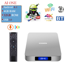 SCISHION AI ONE Smart TV Android TV Box 8.1 RK3328 Quad Core 4GB/32GB 2.4G WiFi BT4.0 With 2.4G Voice Remote Contro