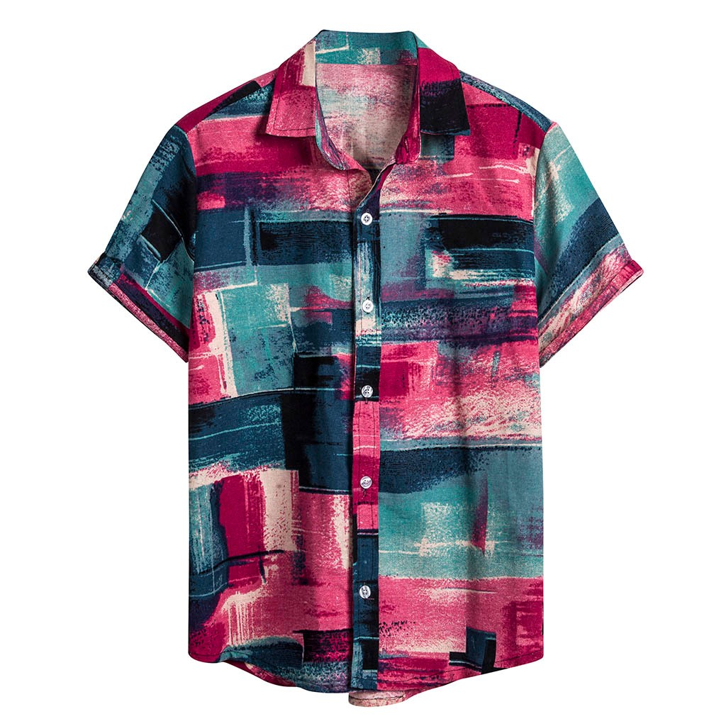 Womail 2019 New Arrival Mens Short Sleeve Beach Hawaiian Shirts Casual Print Shirts Regular Plus Size 2XL Mens Clothing Fashion