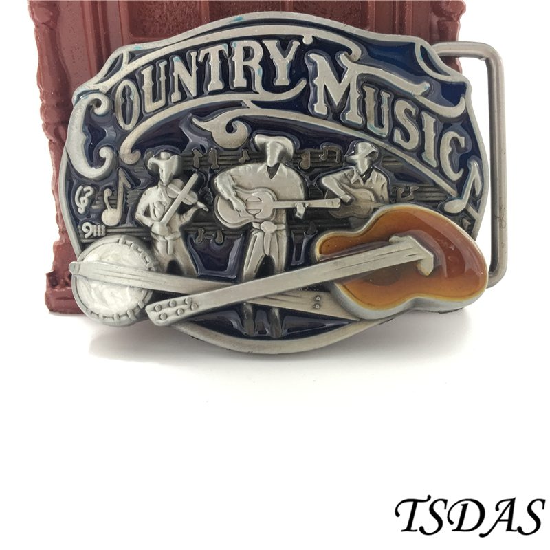 Country Music Metal Belt Buckle With Pewter Finish Fashion Enamel Belt Accessories Suitable 3.8-4cm Width Belt Easy to Wear