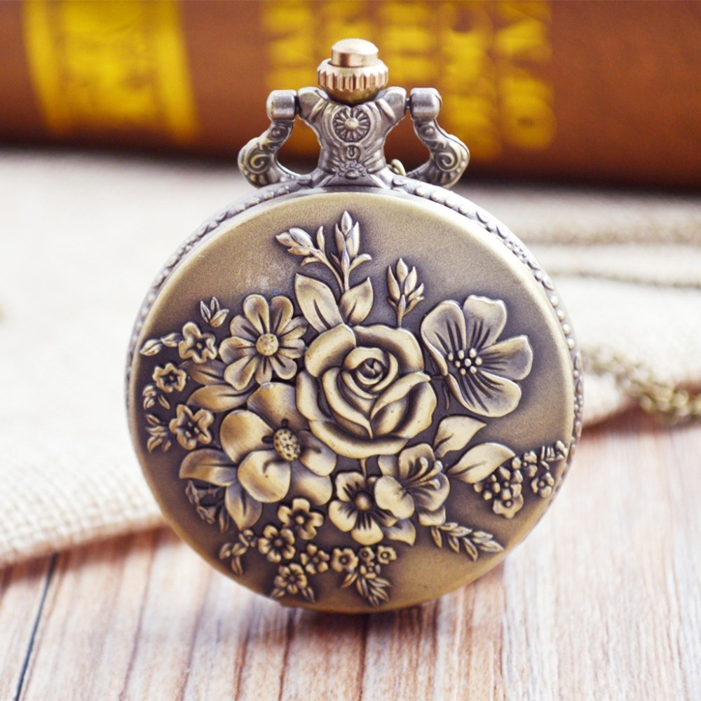 Fashion Women Flower Pocket Watches Retro Casual Quartz Necklace Chain Pocket Watch Fashion Ladies Clock Gifts Reloj Mujer /C