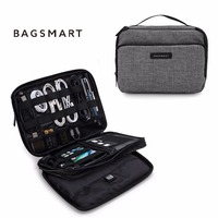 Bagsmart Double Layer Phone Charger Case Travel Gear Organizer Electronics Accessories Bag Large Grey