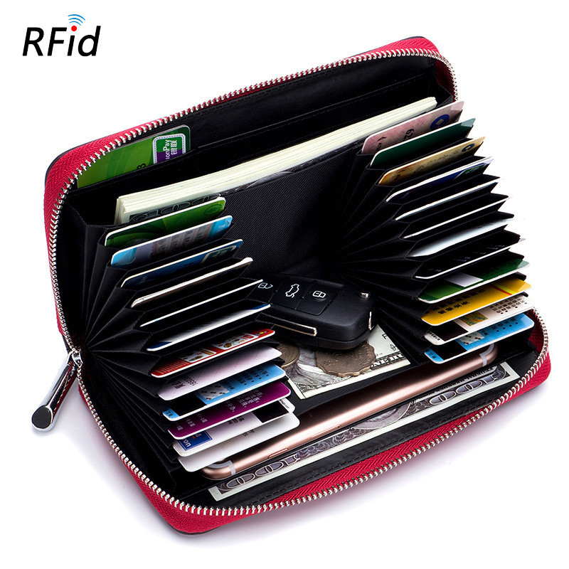 24 Slots Men RFID Card Holder Genuine Leather Long Zipper Wallet Credit Card Wallet Passport Cover ID Business Card Holder DC374 thinkthendo new male genuine cow leather wallet card package retro woven passport business cards holder