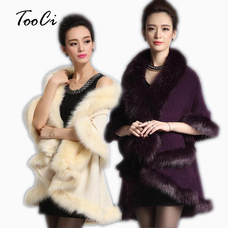 New Fashion Autumn Winter Women Faux Fur Coat Black Long Wool Cashmere Cardigan Women Poncho Knitted Sweater Women Cardigan