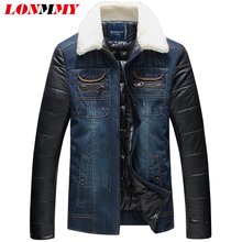 LONMMY M-5XL Cowboy denim jacket men Fur collar Casual jeans jacket Slim fit Warm parka men 2017 New Winter jackets mens parka