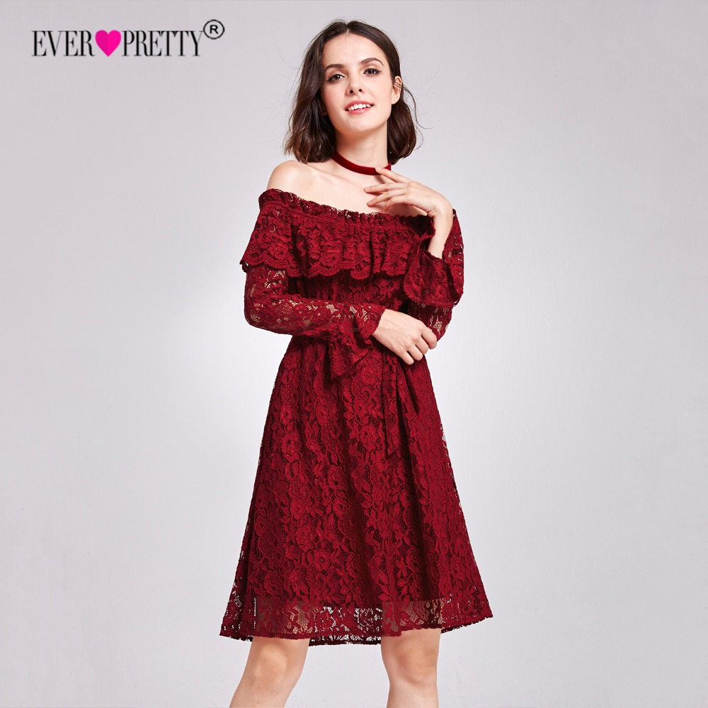 Detail Feedback Questions about Ever Pretty Women Sexy Short Evening  Dresses Lace Burgundy Long Sleeve Autumn Winter Homecoming Party Evening  Dress AS05906 ... b93b57cd477b