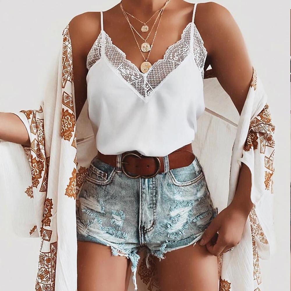 New style 2019 Fashion Summer sexy chiffon printing Women's   Tank     tops   England style lace V-Neck sleeveless camis   Tank     tops