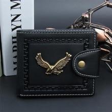 2018 Vintage Metal Eagle Men Wallets Clutch Small Wallet Men PU Leather Brand Wallet Male Short Hasp Coin Purse Wholesale