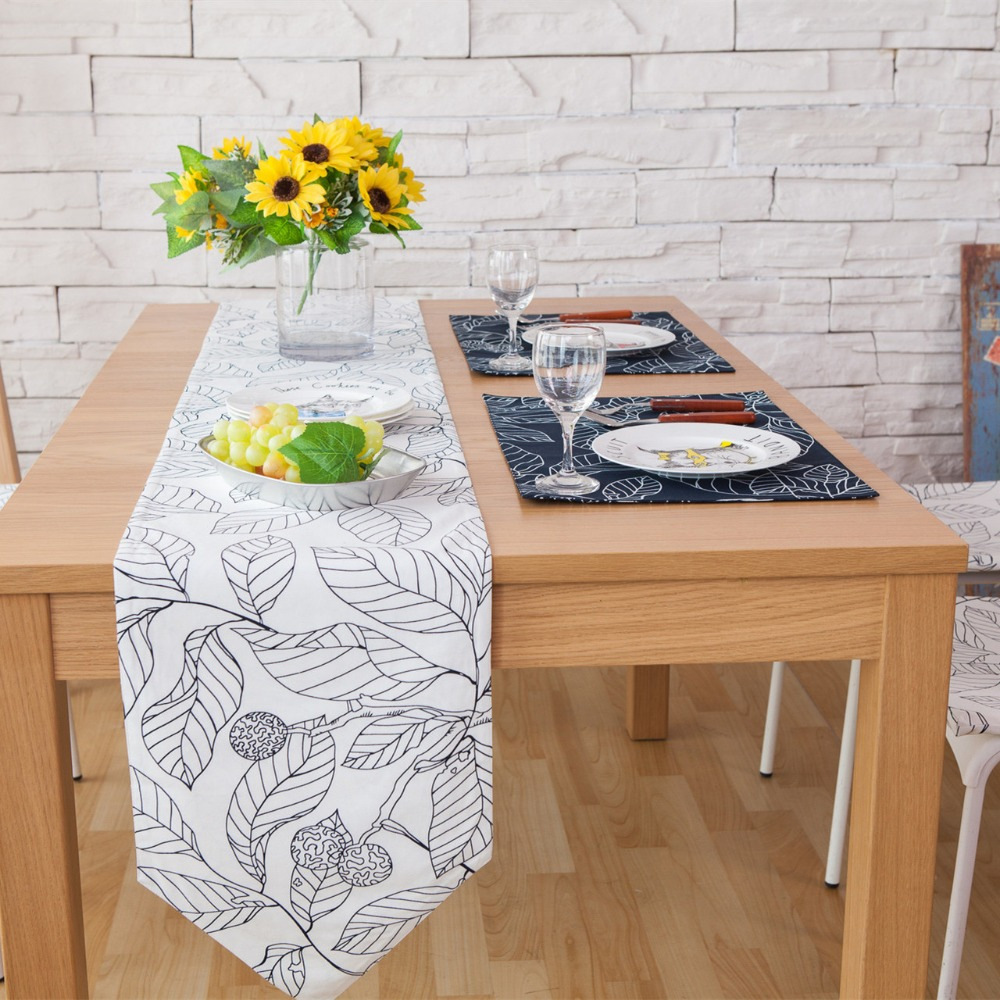SunnyRain 3/5/7 Pieces Linen Cotton Leaves Table Runner And Placemat Sets Table Decoration Table Runners 30x220cm Navy Blue-in Table Runners from Home ... & SunnyRain 3/5/7 Pieces Linen Cotton Leaves Table Runner And Placemat ...
