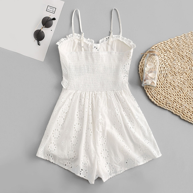 ZAFUL Women Playsuits 2019 Summer Elegant Sexy Party Rompers Spaghetti Strap Lace Up Casual Cotton British Vintage Lace Jumpsuit 5