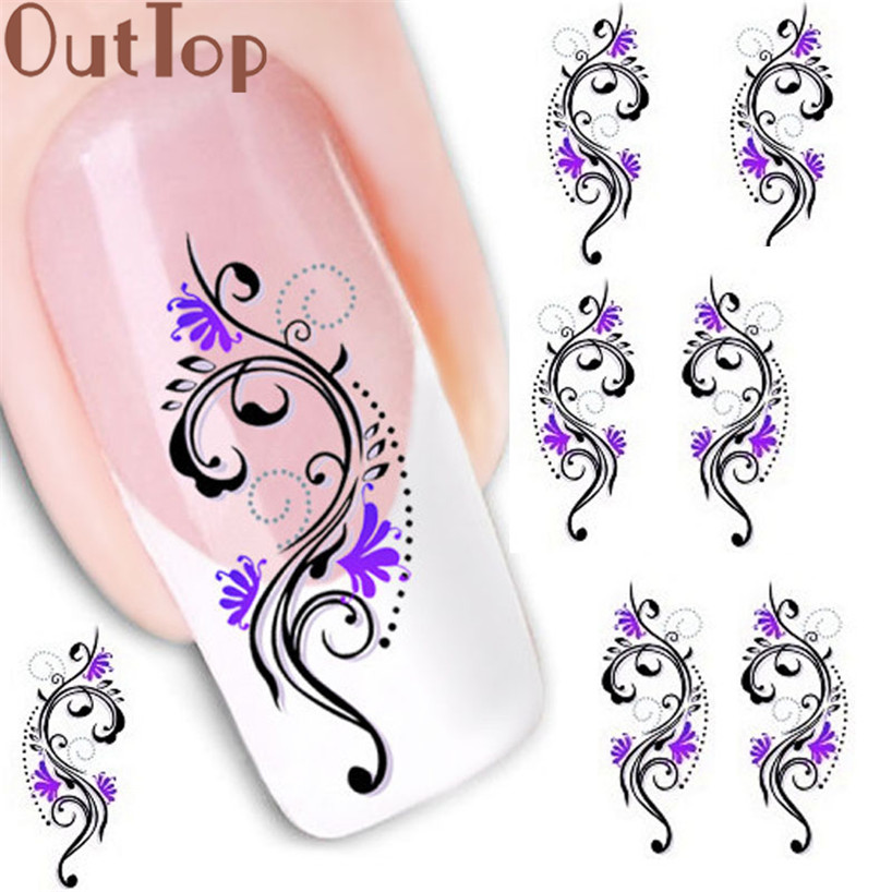 OutTop Manicure Tool   Water Transfer Slide Decal Sticker Nail Art Tips Toe Decoration XF1423 Nails accessoires  2017 June5 orange lily flowers nail art transfer foils nail sticker decal tip decoration diy manicure tools 439