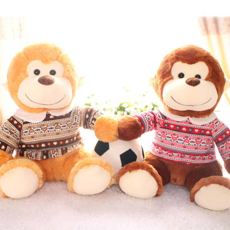 Cute Big Smile Dressed Monkey Plush Doll Toy Stuffed Soft Toys Baby Animals Best Gift For Christmas Day 1pcs Golden/Brown Apes 50cm despicable me big minions stuffed toy big minion stuffed plush toy best doll for baby toy giant minion toy
