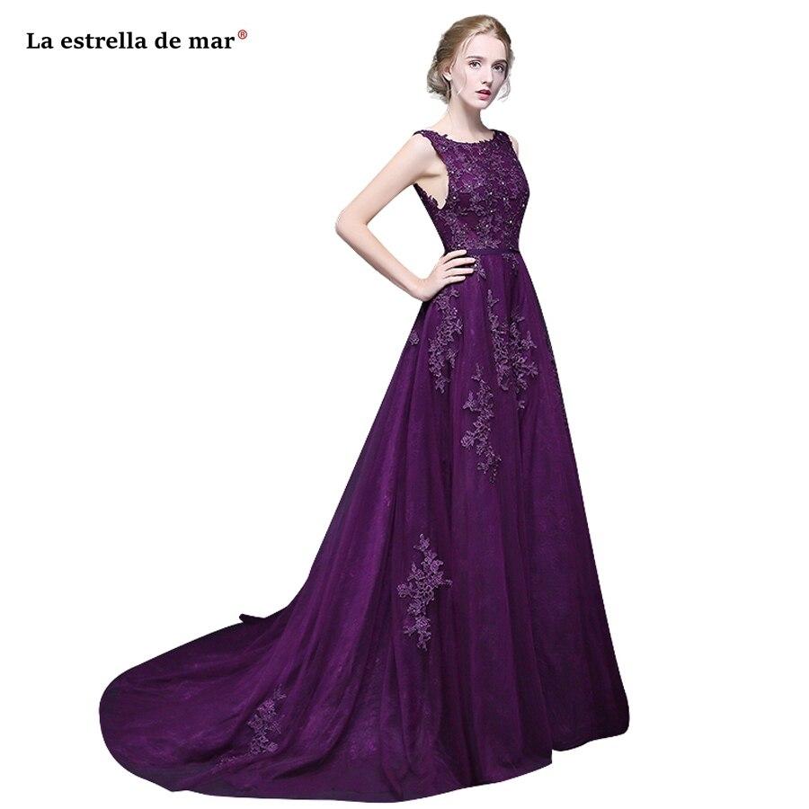 La estrella de mar vestido de festa longo cheap Scoop neck lace diamond belt a Line dark green   bridesmaid     dress   long plus size