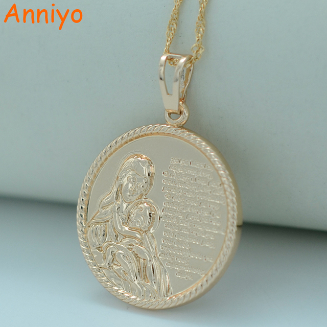 Anniyo virgin mary child necklace for womenmenmother of god anniyo virgin mary child necklace for womenmenmother of god bible pendant mozeypictures Images