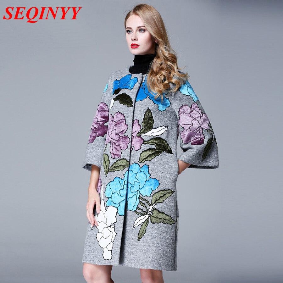 Высококачественное пальто зима осень мода повседневные плюс 3XL женские 2017 3/4 рукав Свободные серый/черный вышивка цветок шерстяное пальто
