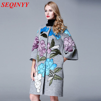 High Quality Coat Winter Autumn Fashion Daily Plus 3XL Women's 2017 3/4 Sleeve Loose Gray / Black Embroidery Flower Wool Coat