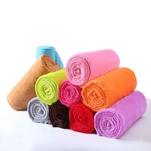 Image 2 - CAMMITEVER 10 Colros Super chaud doux Textile à la maison couverture couleur unie flanelle couvertures jeter des couvre lits draps
