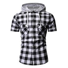 Hooded Casual Cotton Short-sleeved Social Shirt for Men Summer Blouse Fashion Plaid Mens