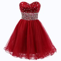 Strapless Crystal Short Homecoming Dresses In Stock Cheap Sweetheart Graduation Dress Party Gown Vestidos