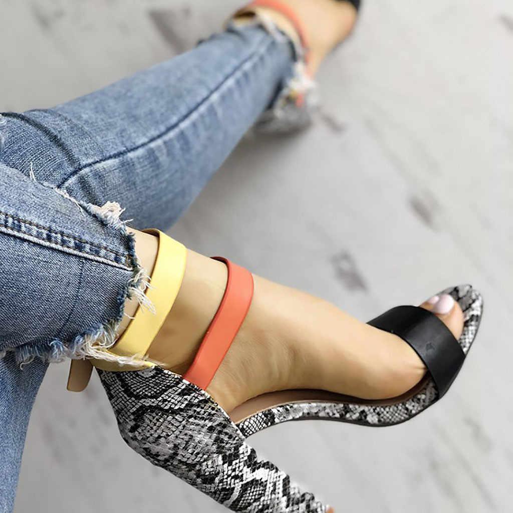 Kadın sandalet yaz ayakkabı kadın 2019 moda yılan seksi yüksek topuklu ayak bileği kayışı kare topuk sandalet bayanlar kadın ayakkabı pompaları