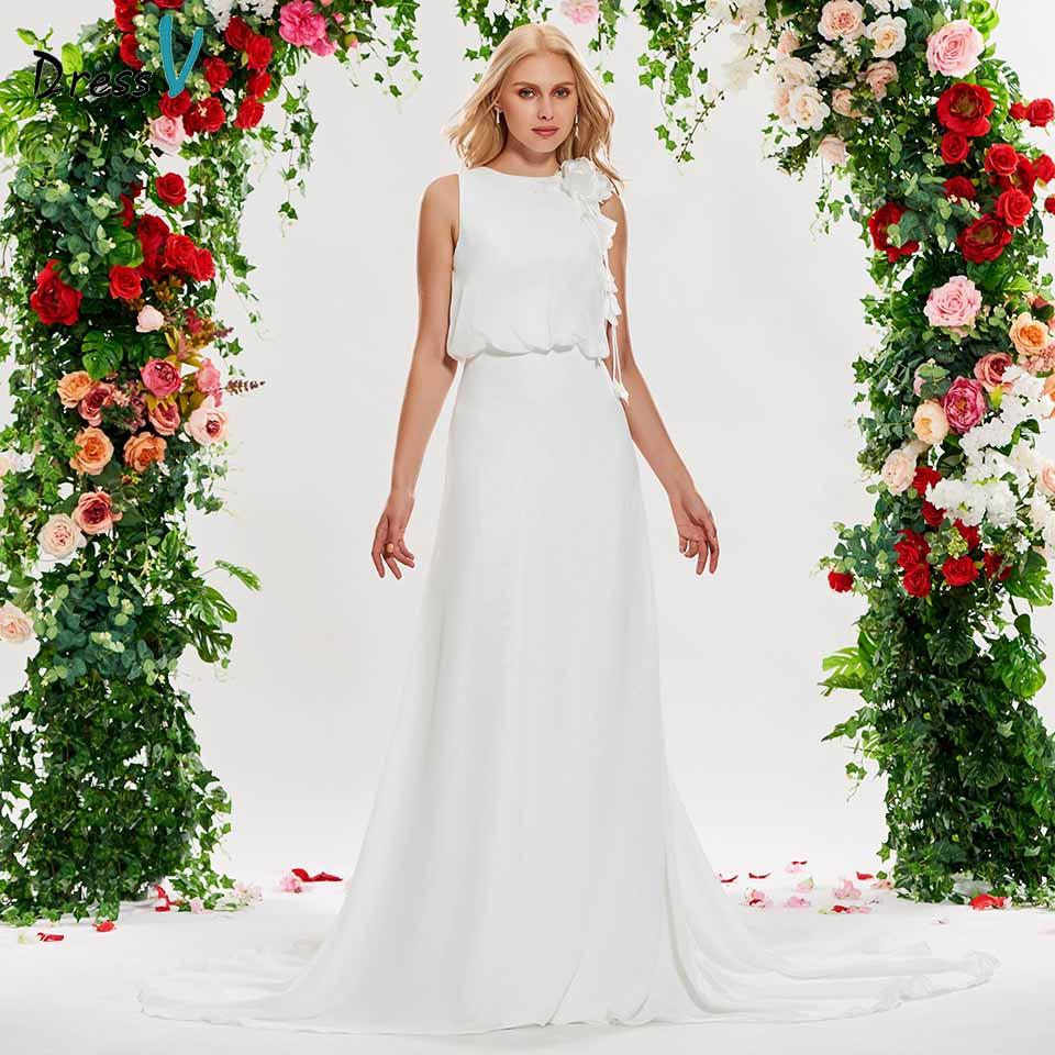 Dressv ivory elegant scoop neck wedding dress sheath flowers sleeveless floor length bridal outdoor&church wedding dresses