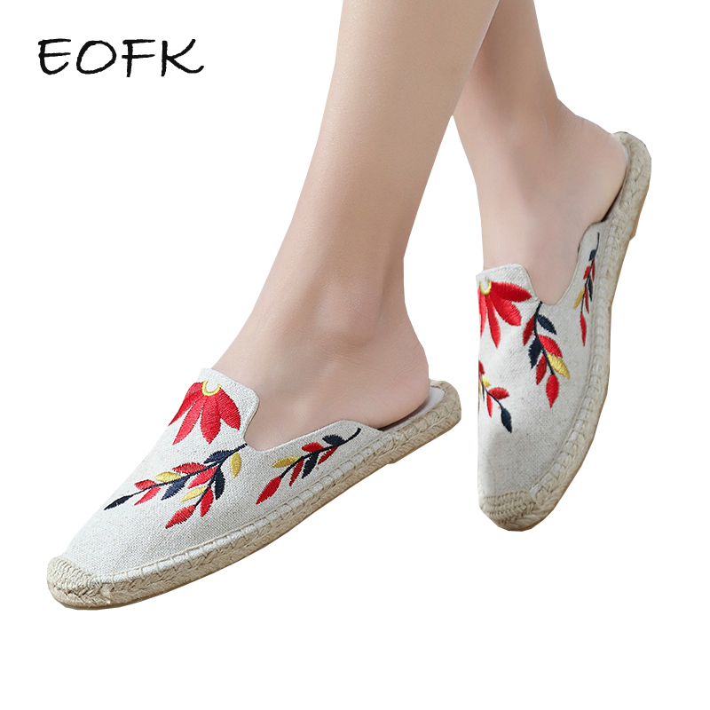 EOFK Women Mules Women's Canvas Shoes Woman Flats Causal Espadrille Embroider Floral Comfortable Slip On Fabric Flat Shoes cap toe cutout espadrille flats