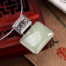 цена на Women Necklaces without Chains Vintage Patterns Hollow Fine Jewelry Real 925 Sterling Silver Natural White Jade Square Female