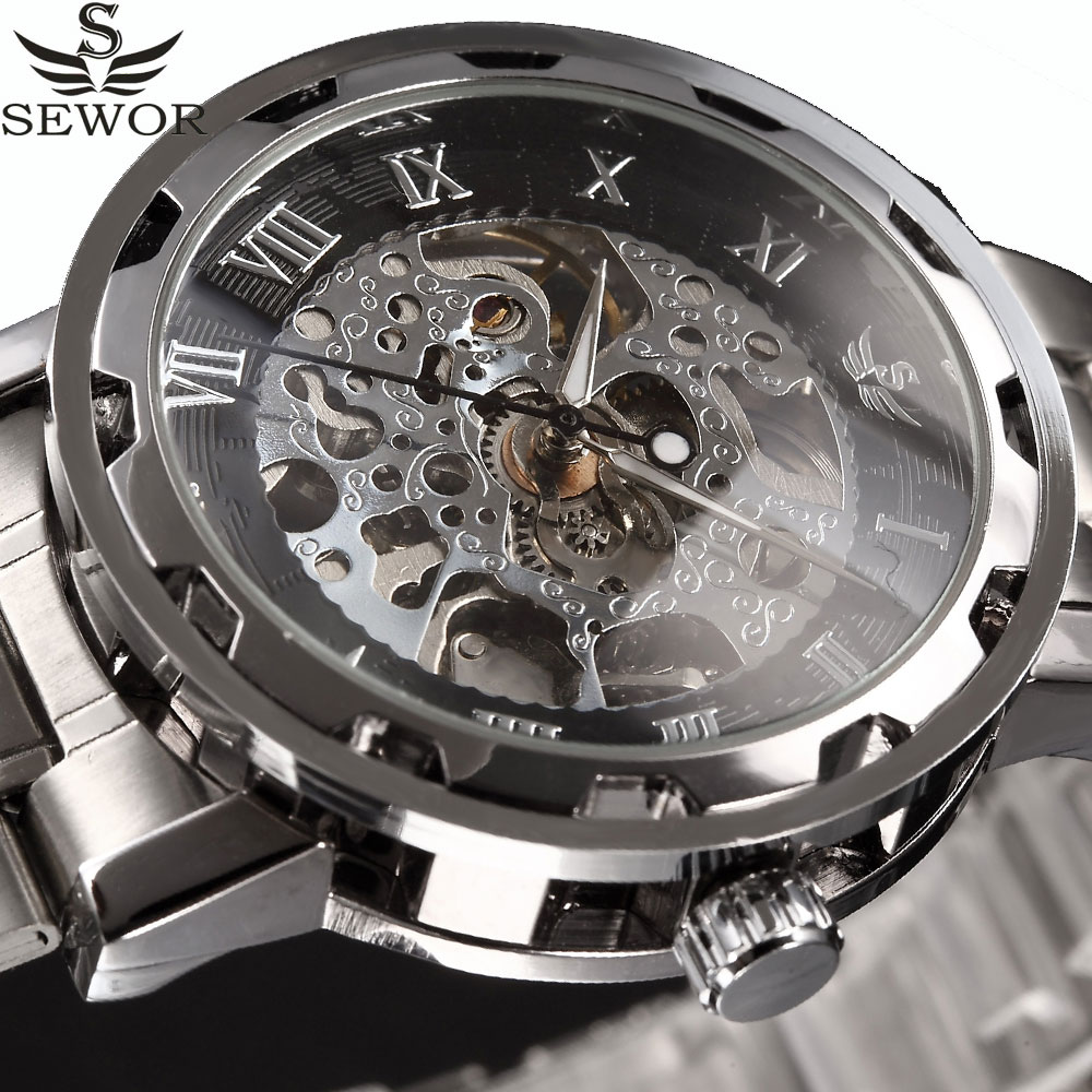 SEWOR Mechanical Watch Men Male Wristwatch Top Luxury Brand Gold Men Skeleton Watch Transparent Full Steel Men Watch Relogio стоимость