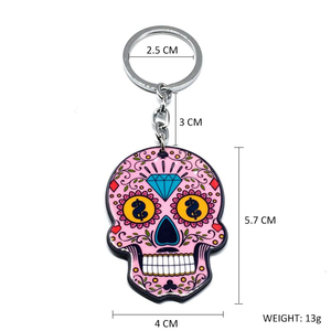Image 2 - Calavera Sugary sweet whimsical skull Keychain Keyring Celebrate Mexican Day of the Dead Halloween Acrylic Sugar Skull Key Chain