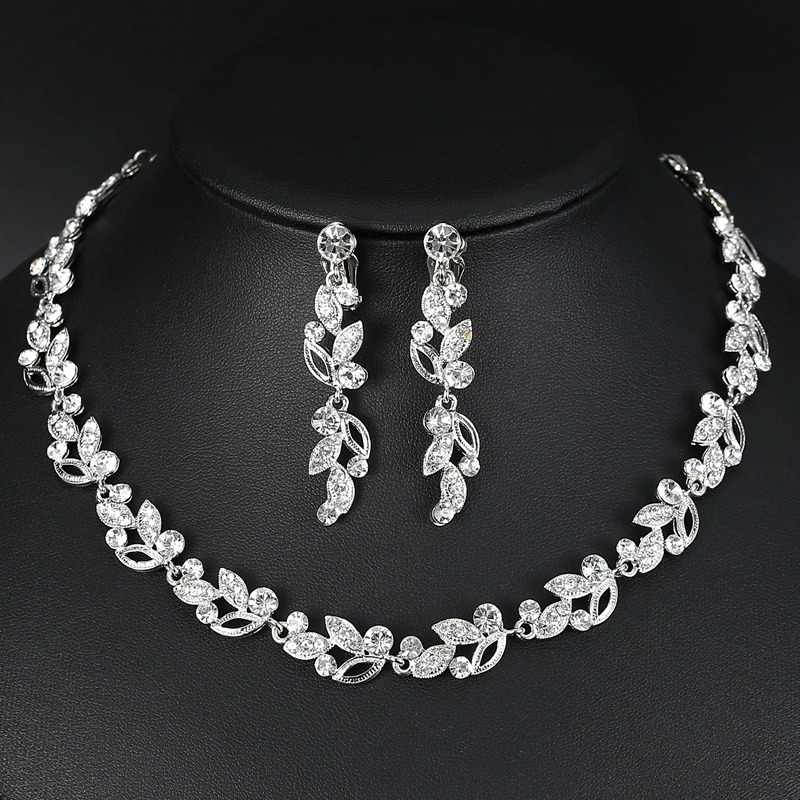 Mecresh Trendy Leaves Crystal Bridal Jewelry Sets Silver Color Rhinestone Party Necklace Sets Wedding Jewelry For Women MTL519