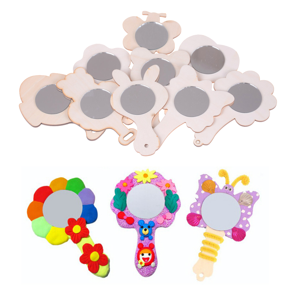 1pcs/lot Children DIY Handmade Craft Wood Mirror Mold Art Painting Toys 13cm Coloring For Kindergarten Kids