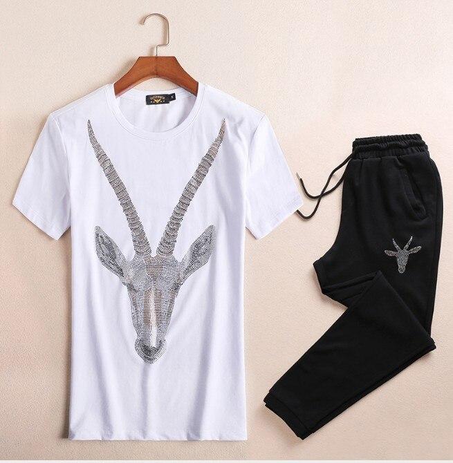 Brand New Novelty Hot diamond Tiger goat Men Running Sportswear Tracksuits Men's Sets (tee shirt + pants) Top TEES #L113 - 3