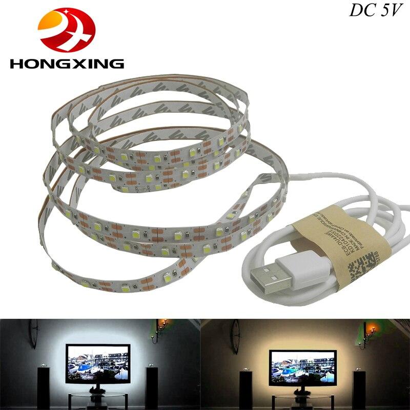 Бесплатная Доставка 5 В <font><b>USB</b></font> кабель СИД свет лампы SMD3528 50 см 1 м 2 м Рождество гибкие светодиодные полосы огни ТВ Задний план Освещение