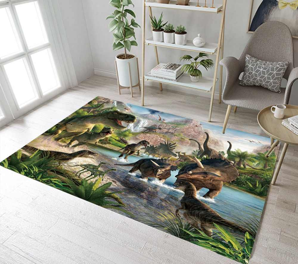Kids Dinosaur Rugs And Primitive Forest Carpets For Baby Home Living Room Large Bedroom Hallway Yoga kitchen Door Floor Bath Mat