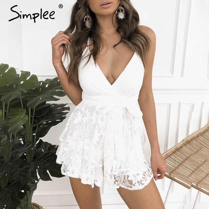 Simplee Sexy deep v neck lace playsuit women Strap sash   jumpsuit   romper Backless bandage summer party playsuit   jumpsuit   overalls